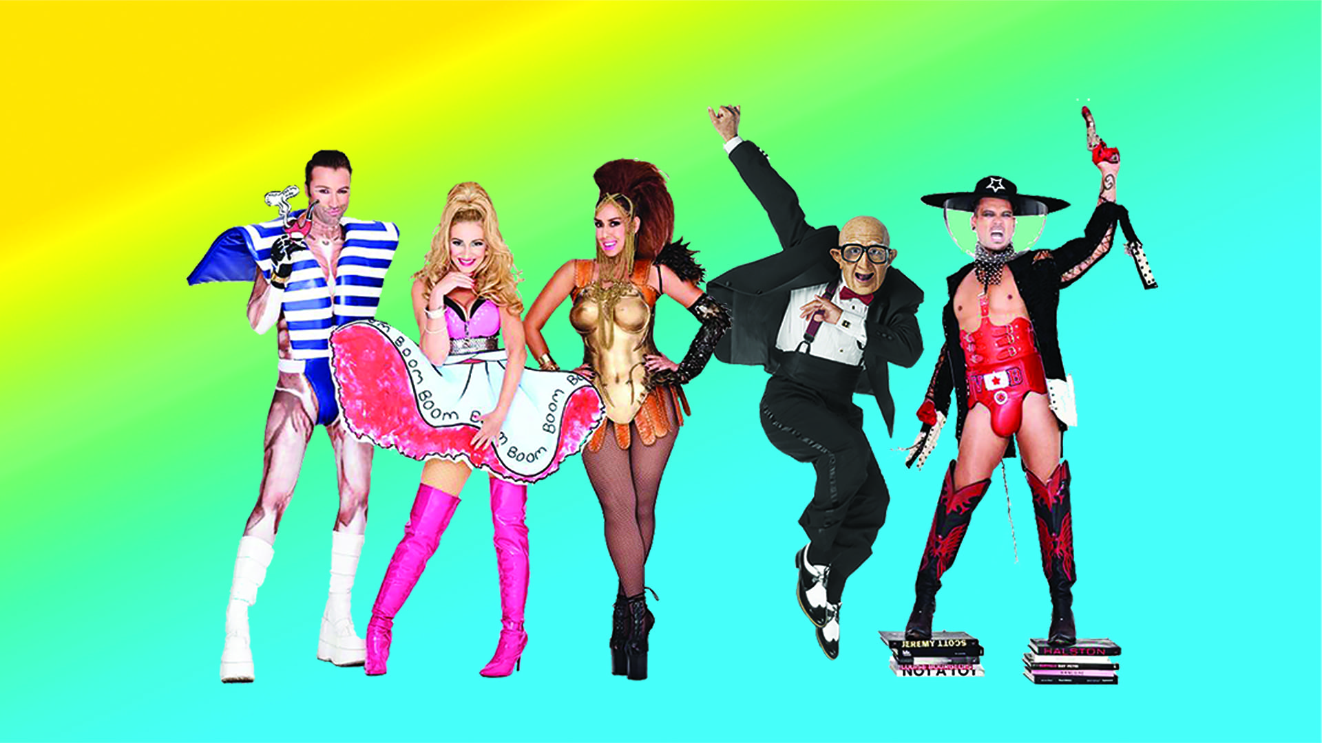 Vengaboys together with mister Six, the dancing old guy who liked to dance to We Like to Party, better known in the USA as the Six Flags Song.