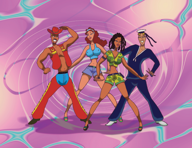 The Party Album Artwork - Illustrated Vengaboys on a pink swirl background