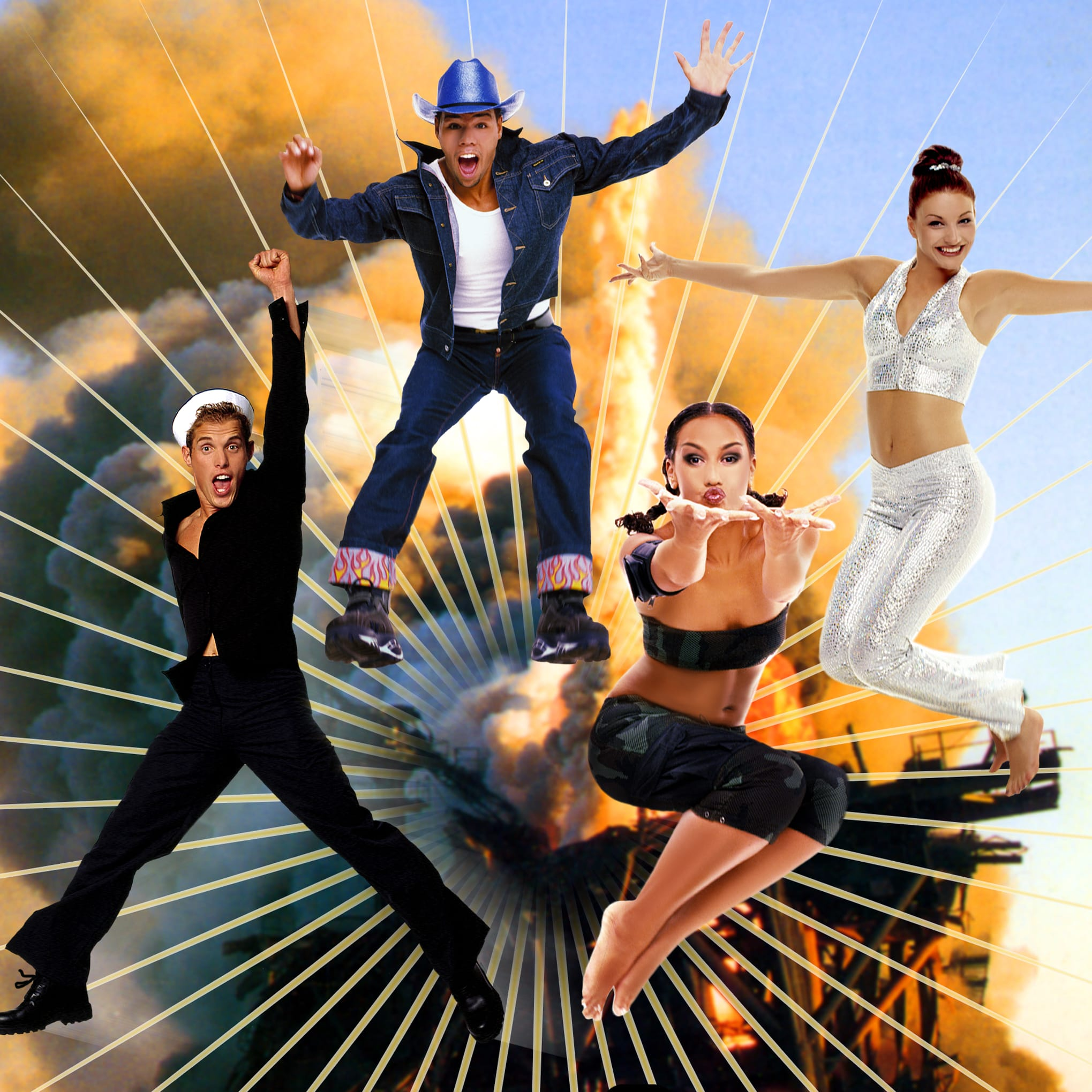 vengaboys flying through the air in front of an explosion